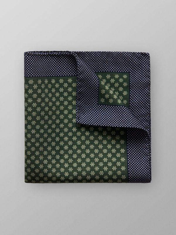 Green Snow Flake And Dotted Pocket Square