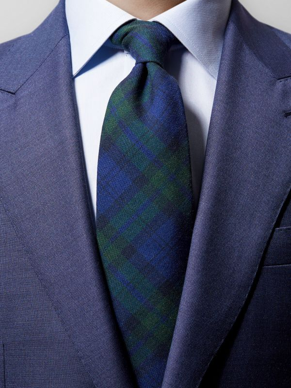 Navy Checked Wool Tie
