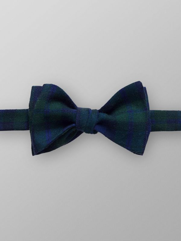 Green & Navy Checked Bow Tie