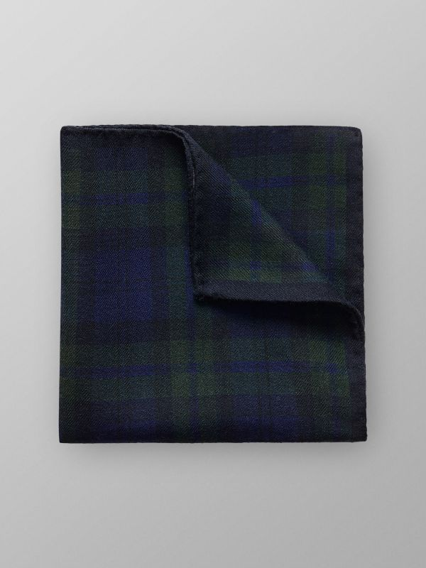 Navy Checked Wool Pocket Square