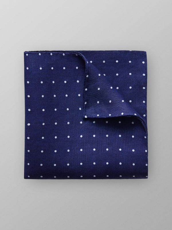 Navy Dotted Linen Pocket Square