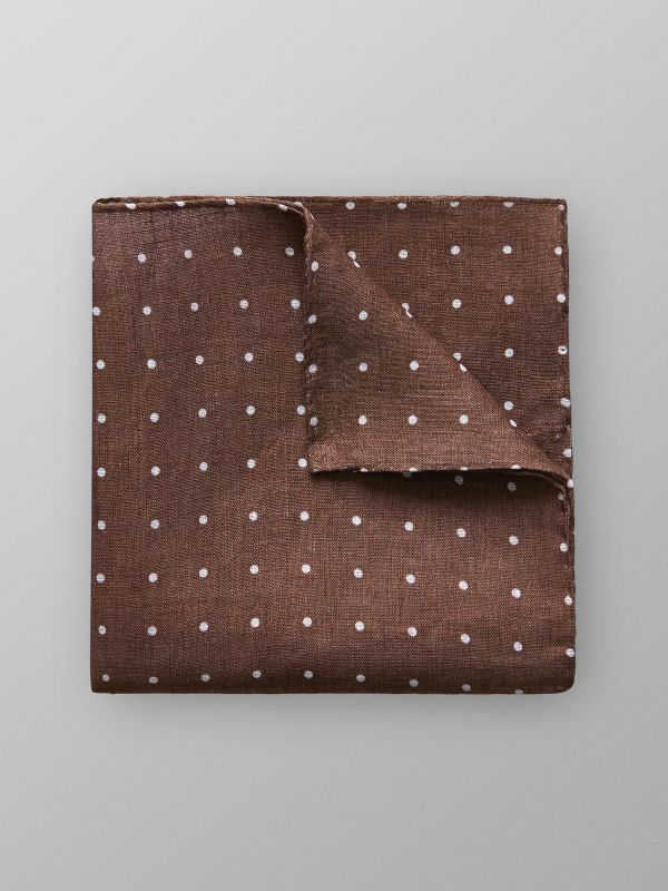 Brown Dotted Linen Pocket Square
