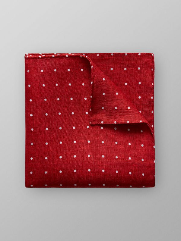 Red Dotted Linen Pocket Square