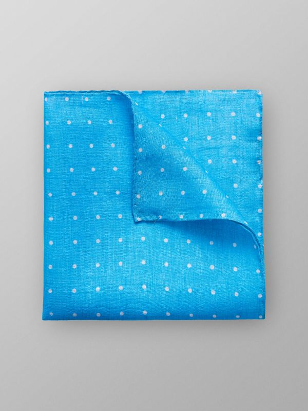 Turquoise Dotted Linen Pocket Square