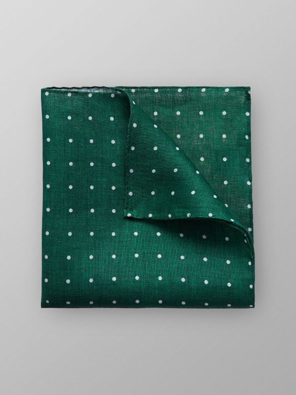 Green Dotted Linen Pocket Square
