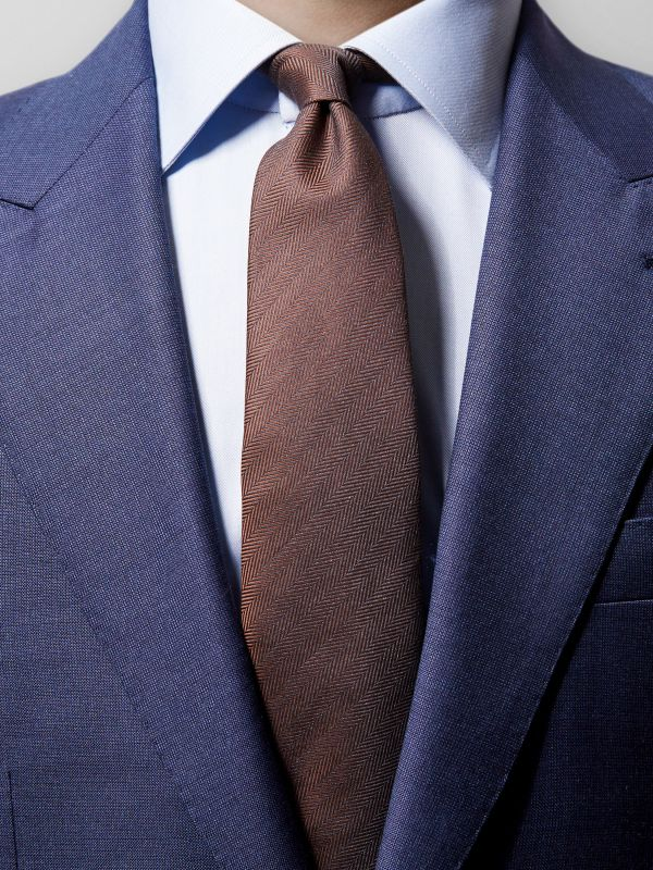 Brown Herringbone 7-fold Tie