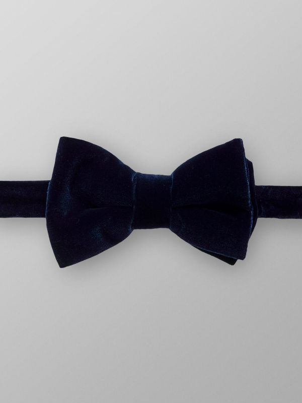 Blue Velvet Bow tie - Ready Tied
