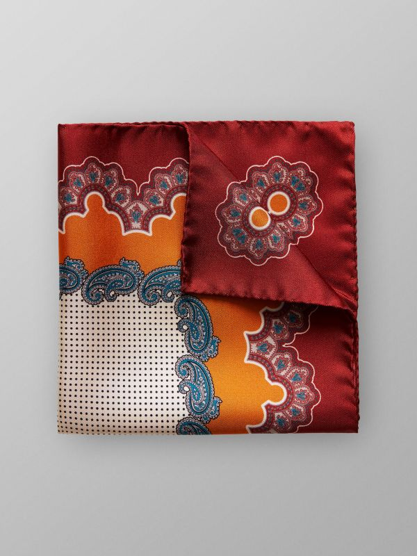Orange Paisley & Dotted Pocket Square