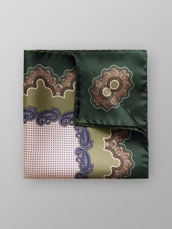 Green Paisley & Dotted Pocket Square