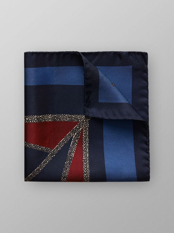 Blue & Red Silk Pocket Square