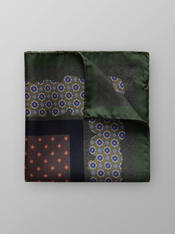 Green & Navy Floral Pocket Square
