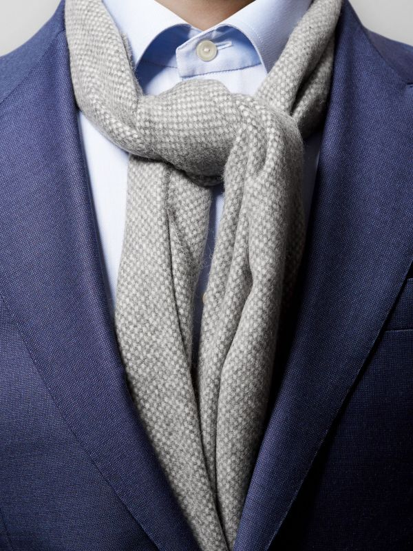 Grey Wool And Cashmere Scarf
