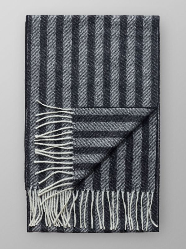 Black Herringbone Wool Scarf