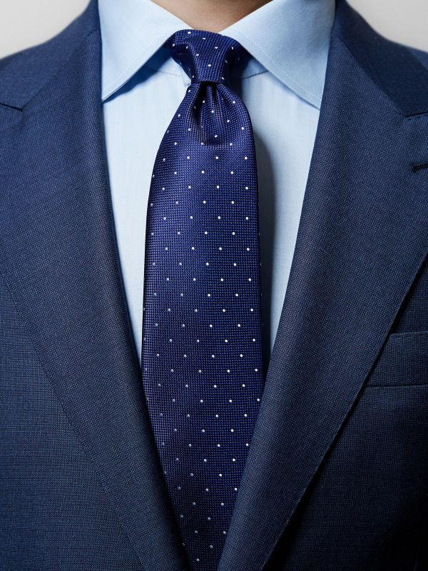 Navy Pin-Dots Silk Tie
