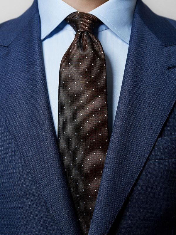 Brown Pin-Dots Silk Tie