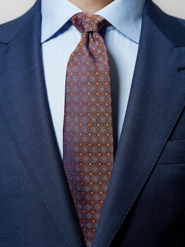 Orange Medallion Woven Silk Tie