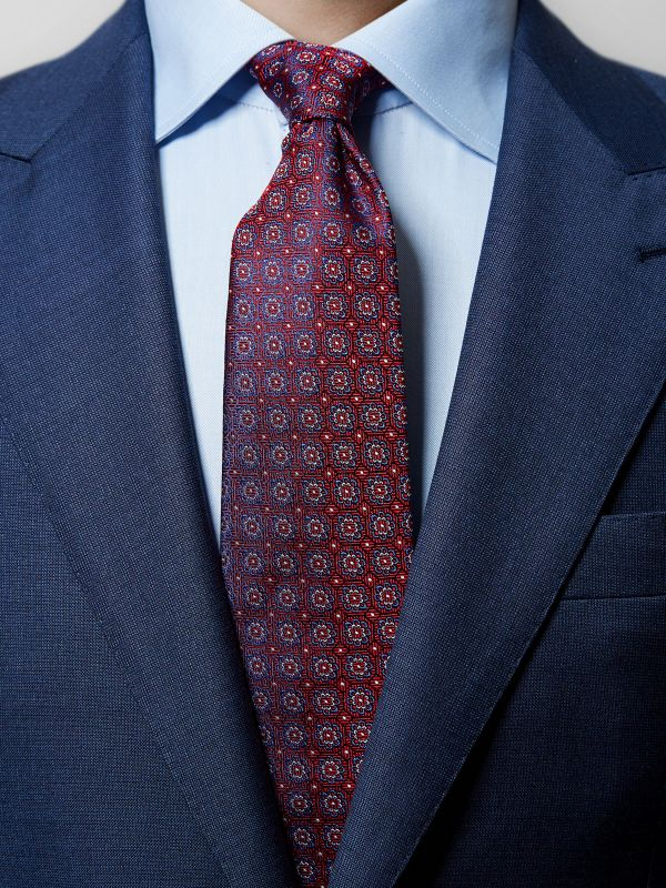 Red Floral Woven Silk Tie