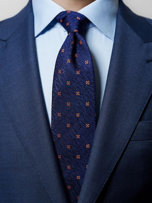 Navy & Orange Floral Silk Tie