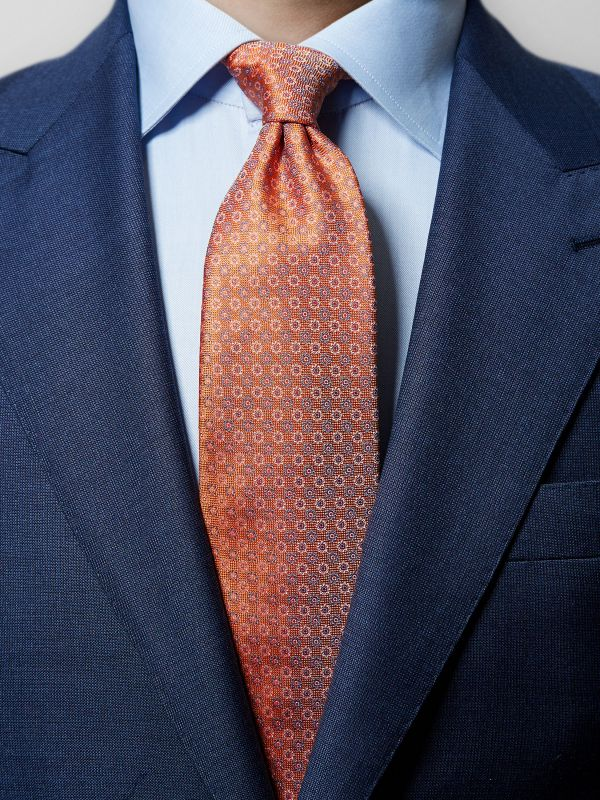 Orange Floral Woven Silk Tie