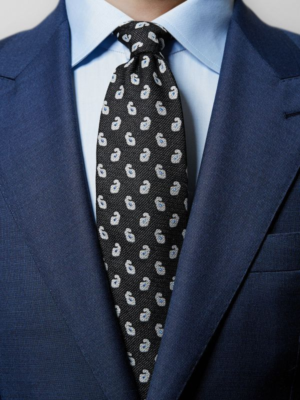 Black Paisley Cotton & Silk Tie