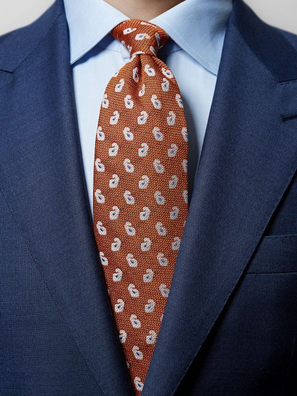 Orange Paisley Cotton & Silk Tie
