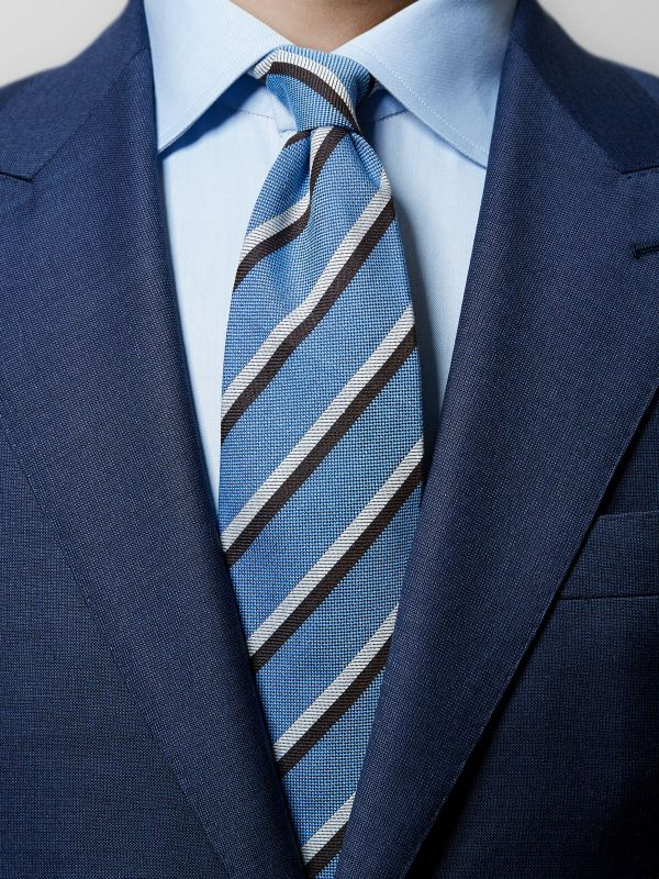 Blue Striped Woven Silk Tie