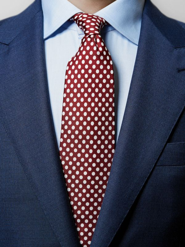 Red Polka Dots Silk Tie