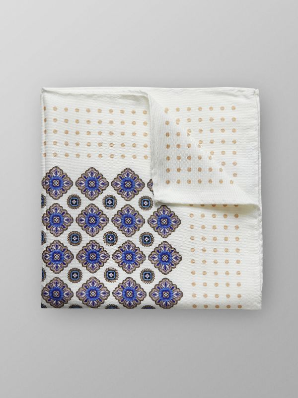 White Medallion Cotton & Silk Pocket Square