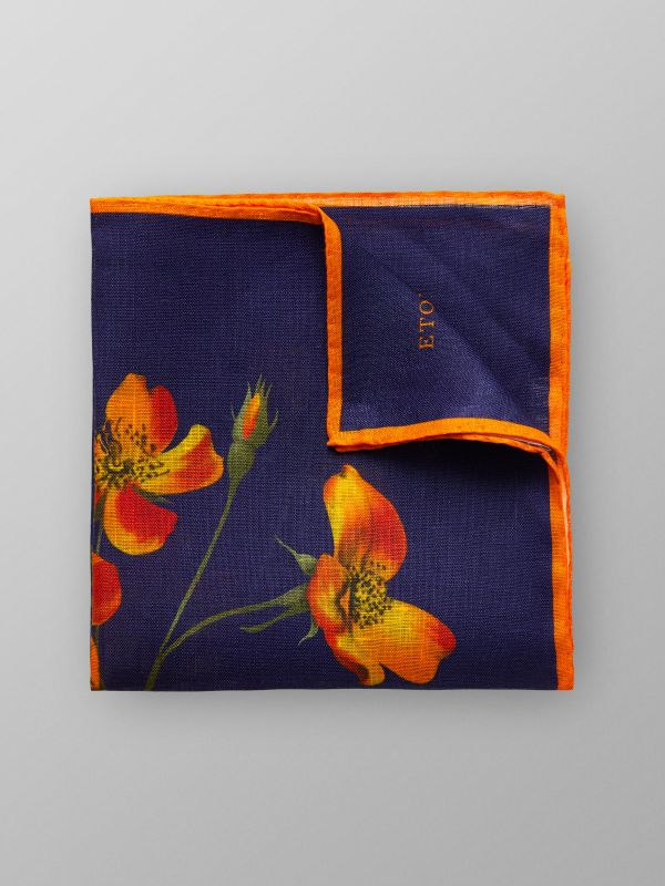 Orange Floral Print Linen Pocket Square