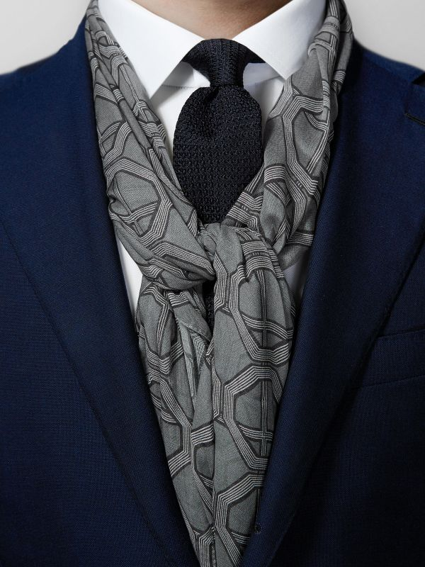 Grey Geometric Cotton & Modal Scarf