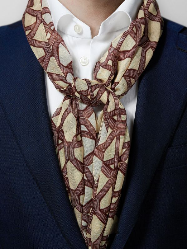 Brown Geometric Cotton & Modal Scarf