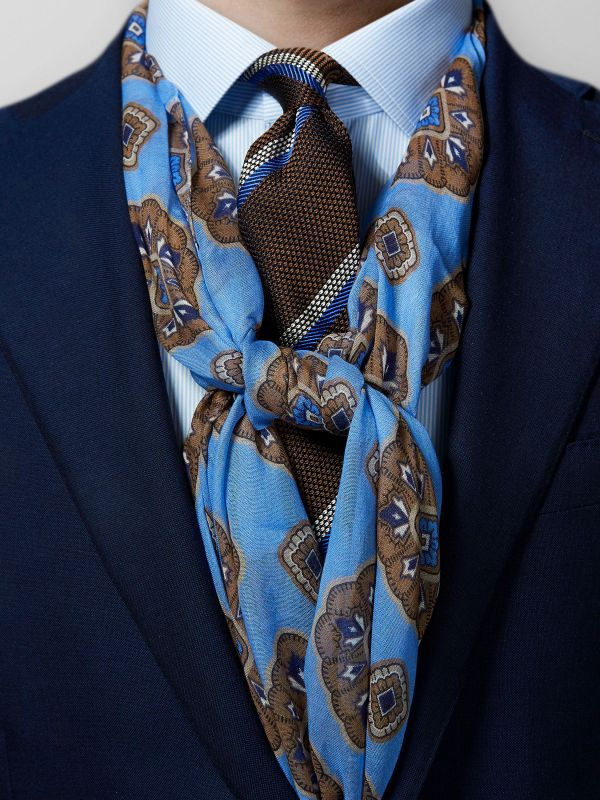 Blue Medallion Cotton & Modal Scarf