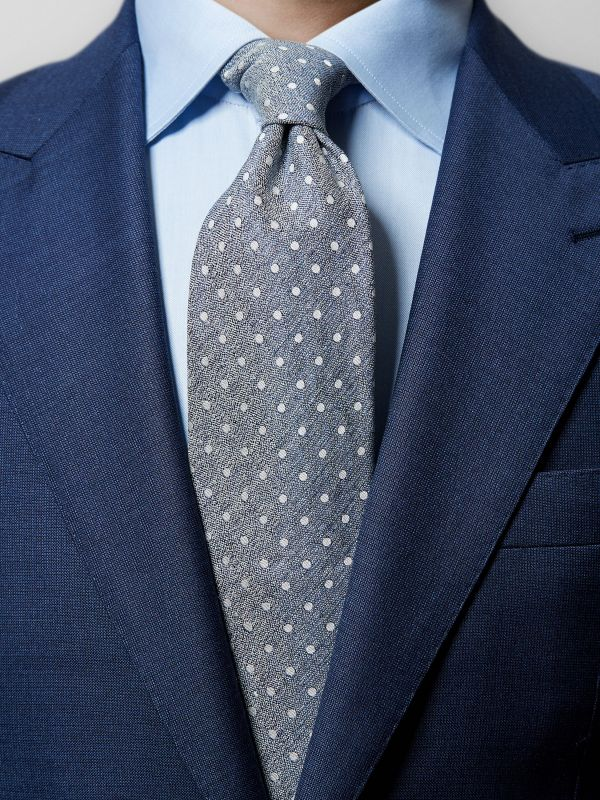 Blue Dots Blend Fabric Tie
