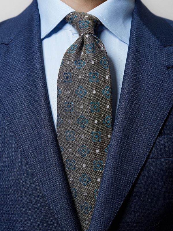 Brown Floral & Dotted Tie
