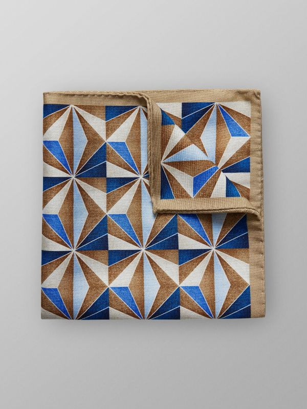 Geometric Cotton & Silk Pocket Square