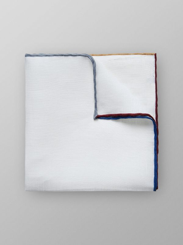 Multi Border Linen Pocket Square