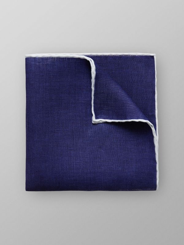 White & Blue Linen Pocket Square