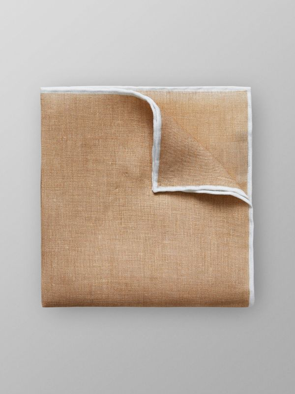 White & Off White Linen Pocket Square