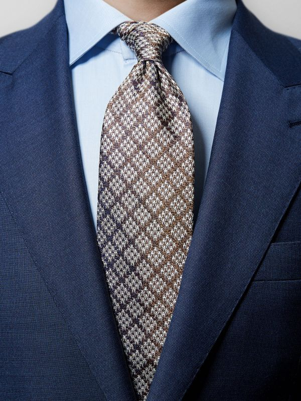 Brown Silk Houndstooth Tie