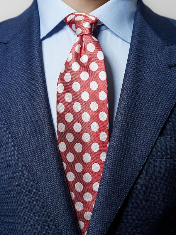 Red Bold Polka Dots Silk Tie