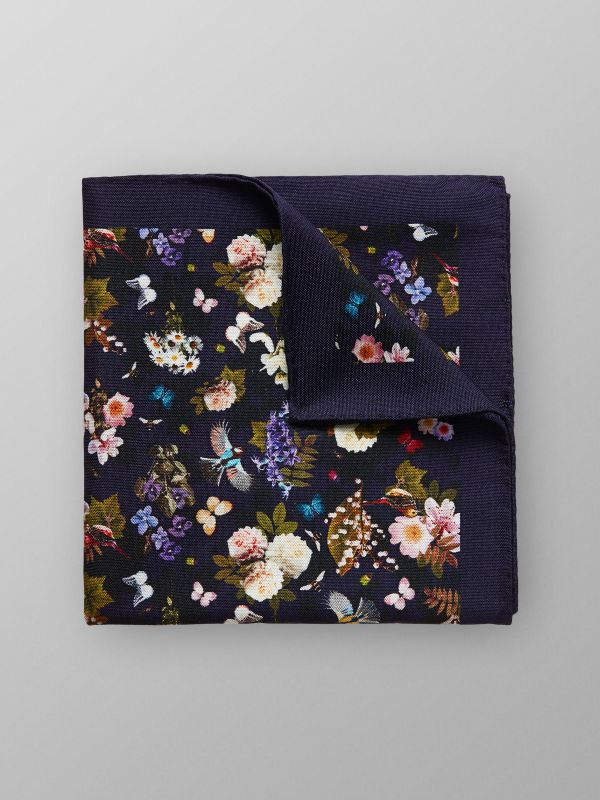 Navy Floral Cotton & Silk Pocket Square