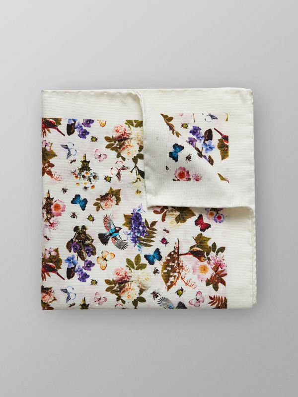 White Floral Cotton & Silk Pocket Square
