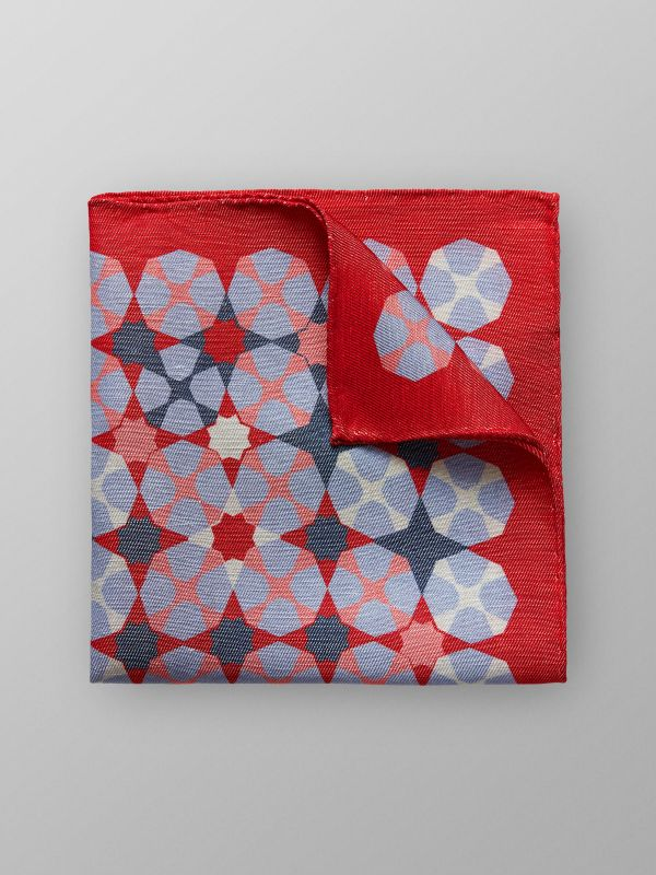 Red Geometric Pocket Square