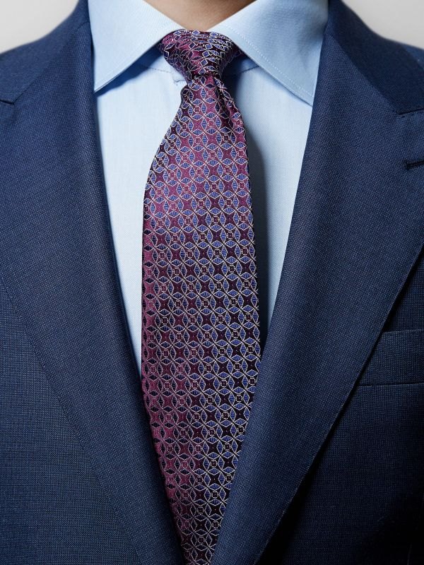 Red Geometric Woven Silk Tie