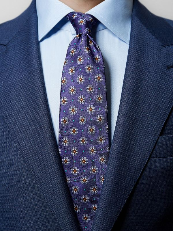 Navy Floral & Paisley Tie