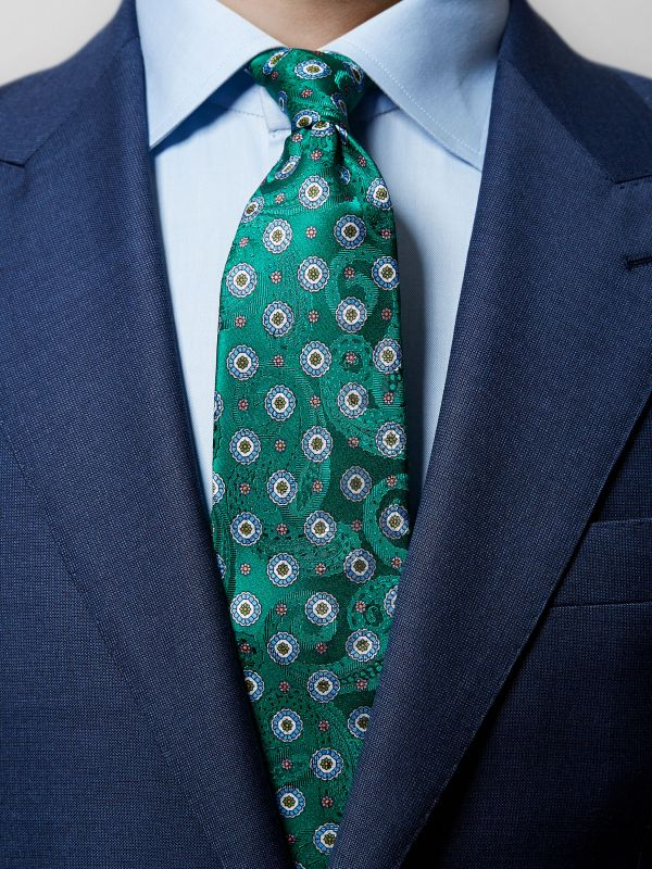 Green Floral & Paisley Silk Tie