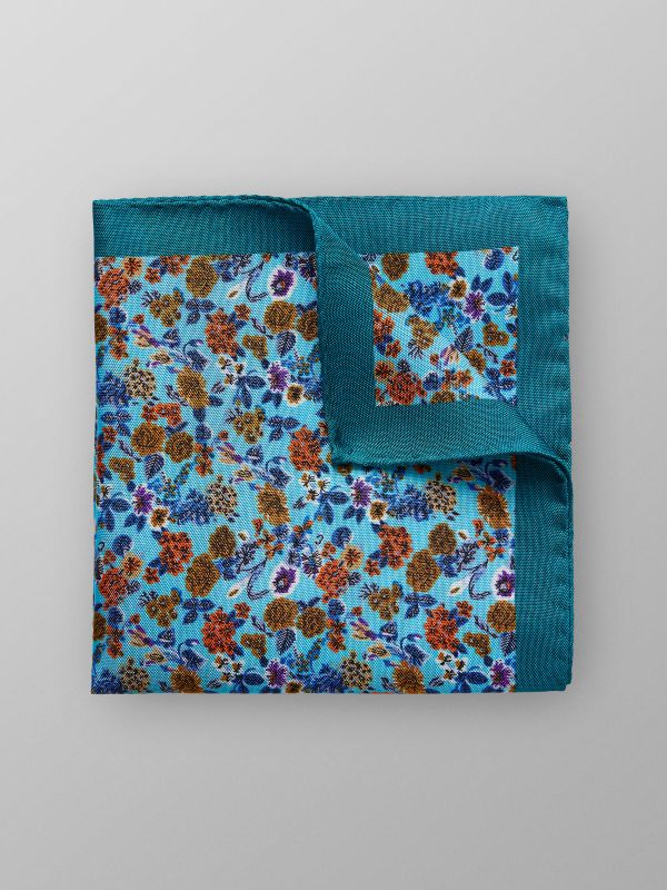 Turquoise Floral Pocket Square