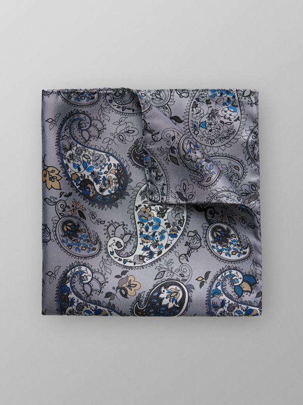 Grey Floral Silk Pocket Square