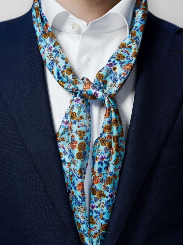 Turquoise Floral Silk Scarf
