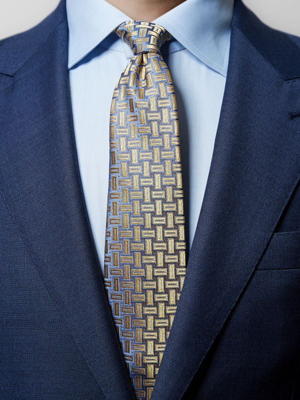 Yellow Geometric Woven Silk Tie